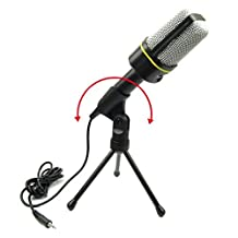 Firstec 3.5mm Studio Professional Microphone Mic with Stand For Audio Sound Recording Skype Desktop PC Laptop Notebook