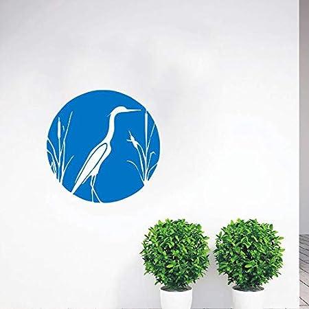 hllhpc Heron y Cattails Tatuajes de Pared Naturaleza Bird Cattails ...