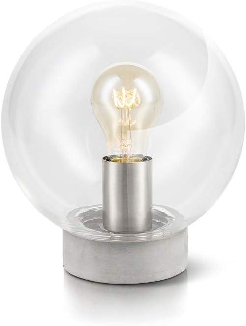 LIFA LIVING Lámpara de mesa vintage con forma de bombilla, Lámpara de escritorio retro esférica, Lámpara de mesa industrial con aspecto de hormigón, lámpara de mesilla de noche: Amazon.es: Iluminación