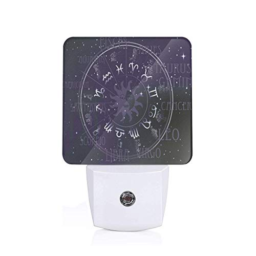 Colorful Plug in Night,Horoscope Zodiac Sign in Circle Wheel Shape On Star Seem Backdrop Print,Auto Sensor LED Dusk to Dawn Night Light Plug in Indoor for Childs ()