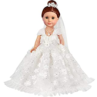 KYToy 18 Inch Doll White Wedding Outfit for American Doll Clothes and Accessories Girl Bride Flower Pearl Wedding Dress Gown with Veil and Necklace Set (3 PCS)