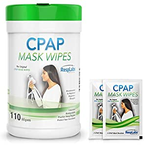RespLabs Medical CPAP Mask Wipes – [110 Pack Bottle Plus 2 Individual Packs] – Biodegradable, Unscented, and Lint-Free.
