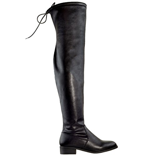 Cat Generation Up Black Boots Knee WB Lace High Gy Womens Boots Block Riding Knee The Heel Over Leather Y pwgqrxpnH