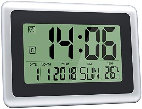 HeQiao Digital Wall Clocks Large Decorative LCD Alarm Clock Black w Silver