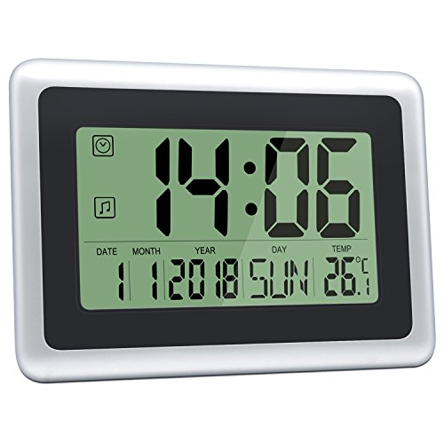 HeQiao Slim Large LCD Digital Alarm Clock Day Date Digital Calendar Day...