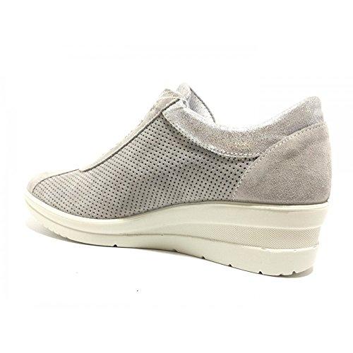 Donna Scarpe Perla Camoscio Grigio Sneakers Grigio Imac Forato 106401 Micro Vero qEwtCFSx