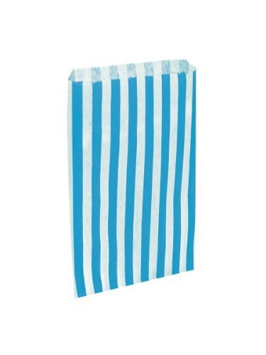 Swoosh Supplies 200 x Sky Blue & White Candy Stripe/Striped Paper Sweet Party Bags – 5″ x 7″