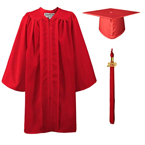 GraduationMall Matte Kindergarten Graduation Gown Cap Set with 2019 Tassel Red 36(4'3