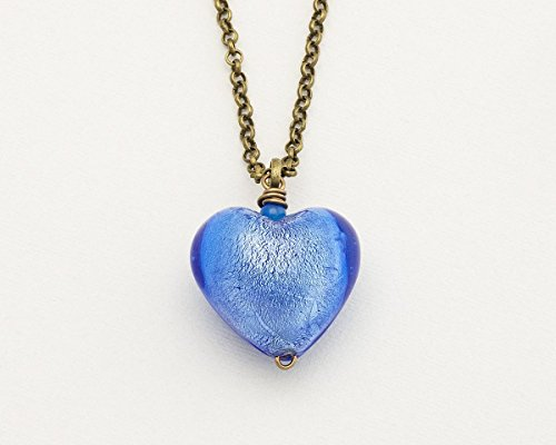Large blue foiled glass puffy heart antique bronze long chain pendant necklace