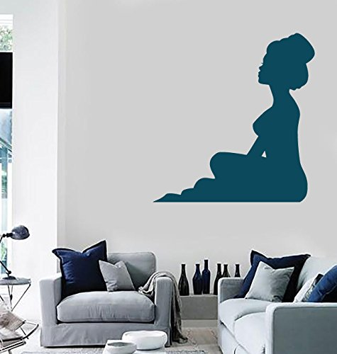 Wall Stickers Vinyl Decal Silhouette Beautiful Sexy Girl High Chest Updo (n181) Gold Metallic (Sexy Updo)