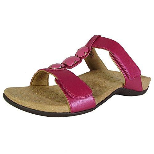 Albany Shoe (Vionic Orthaheel Womens Albany Jeweled Slide Sandal Shoes, Raspberry, US 6)