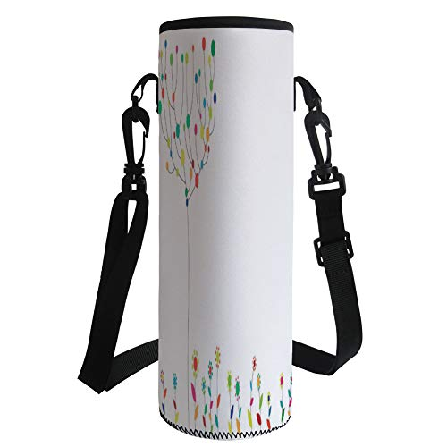 Water Bottle Sleeve Neoprene Bottle Cover,Floral Decor,Funky Flowers on The Ground and Circular Blooms on Tree Branches Spring Print,Multicolor,Fit for Most of Water Bottles by iPrint