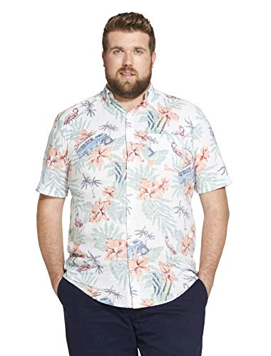 (IZOD Men's Big and Tall Saltwater Dockside Chambray Short Sleeve Button Down Pattern Shirt, Bright White, Large)