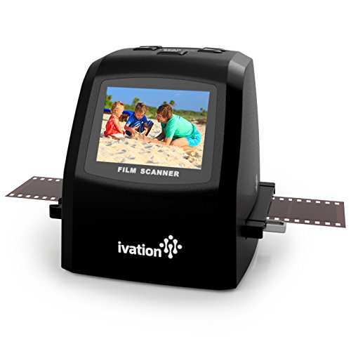 Ivation 22MP Digital Film Scanner and Converter, Includes Speed Load Adapters for 35mm, 110 and 126 Negatives and Slides and Super 8 Films, 2.4 LCD Screen and BuiltIn Editing Software