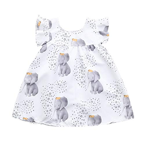Nargar Baby Girls Sleeveless Dress - Cute Girls Stars & Elephant Printed Dress with Flying Sleeve - Toddler Party Princess Dresses Festival Outfits 12 Months-3 Years