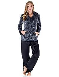 Sleepyheads Women's 1/4 Zip Fleece Pullover with Pocket 2-Piece Loungewear PJs