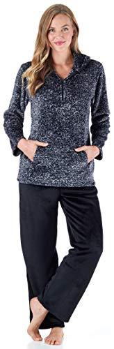 (Sleepyheads Women's Sleepwear 1/4 Zip Fleece 2-Piece Loungewear Pullover Pajama PJ Set with Pockets Black Melange (SH1143-5017-XL) )