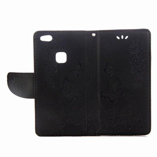 Yiizy Huawei P10 Lite Custodia Cover, Farfalla Design Sottile Flip Portafoglio PU Pelle Cuoio Copertura Shell Case Slot Schede Cavalletto Stile Libro Bumper Protettivo Borsa (Nero)