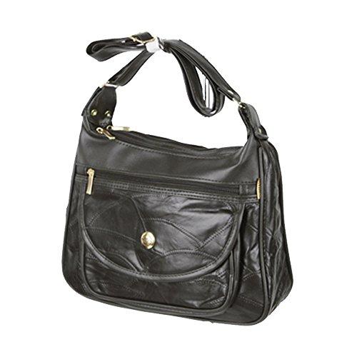 trim Purse compartment Trendz phone Mobile Friendz Handbags black patchwork leather PU nH0fqBw8t