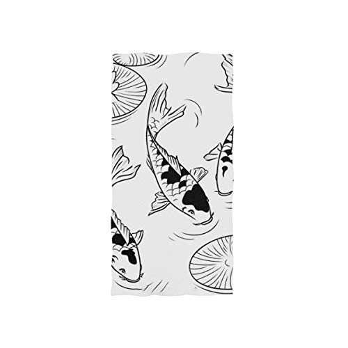 (SLHFPX Black and White Koi Fish Lotus Leaves Japan Style Hand Towels Ultra Soft Luxury Cotton Face Towel Washcloths for Home Kitchen Bathroom Spa Gym Swim Hotel Use )