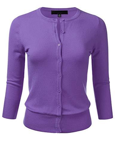 Women's Button Down 3/4 Sleeve Crew Neck Knit Cardigan Sweater Blueberry 1X