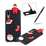 TPU Case for Huawei P20,Soft Rubber Cover for Huawei P20,Herzzer Ultra Slim Stylish 3D Christmas Santa Claus Series Design Scratch Resistant Shock Absorbing Flexible Silicone Back Case - Black