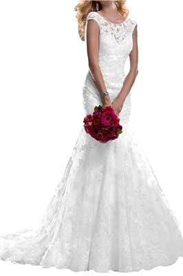 Angel Bride Jewel Lace Wedding Dresses Mermaid Long Dresses