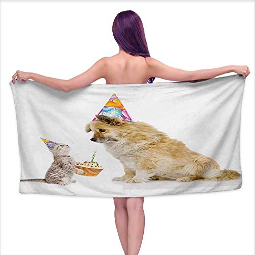 Onefzc Bath Towel Kids Birthday Cat and Dog Domestic Animals Human Best Friend Party with Cupcake and Candle Super Soft Highly Absorbent W35 x L12 Multicolor by Onefzc (Image #5)