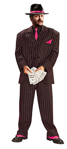 Forum Roaring 20's Jazzy Pink Striped Gangster Costume Suit, Black, X-Large -