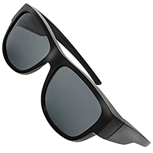 The Fresh High Definition Polarized Wrap Around Sunglasses for Prescription Glasses 66mm Gift Box (2-Shiny Black, Grey)