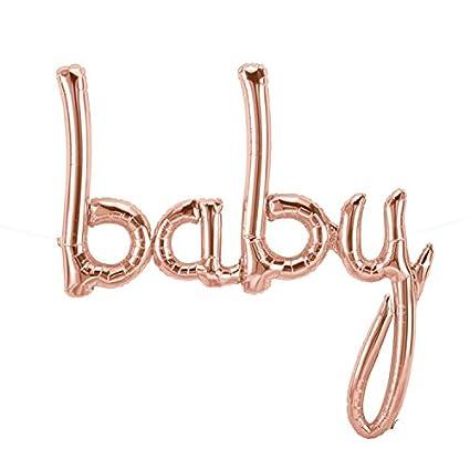 Caseta de globo aerostático XXL/Script de bebé en Rosé de oro metálico/Baby