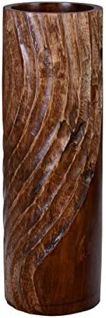 VILLACERA 83-DT5832 Handmade 15″ Tall Brown Round Mango Decorative Wave Carved Cylinder Vase