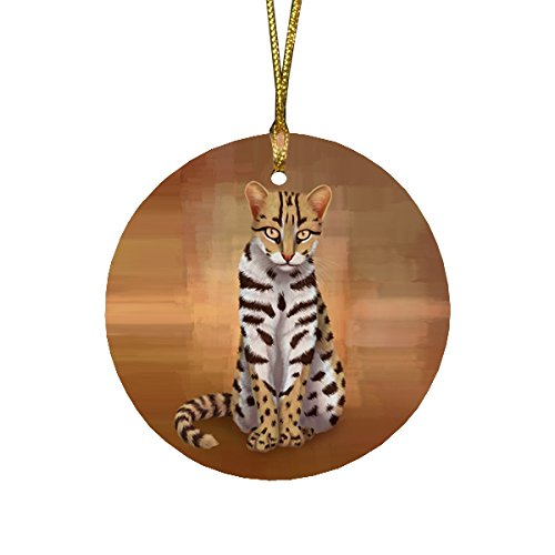 ian Leopard Cat Round Christmas Ornament ()