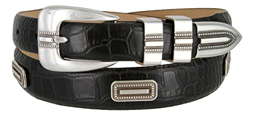 Silver Vincente Genuine Italian Calfskin Leather Conchos Dress Belt (Alligator Black, 38)
