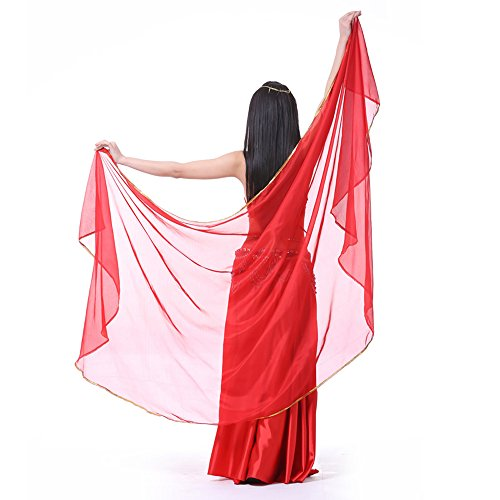 8.2 ft x 3.9 ft Light Weight Semicircle Chiffon Scarf, Belly Dance Veils, Belly Dance Shawls (RED) (Veil Scarf)