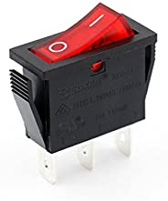 Baomain 5 x Snap-in Rocker Switch ON-Off SPST 250V 16A 125V 16A 3 Terminal Red Light UL TüV Certified