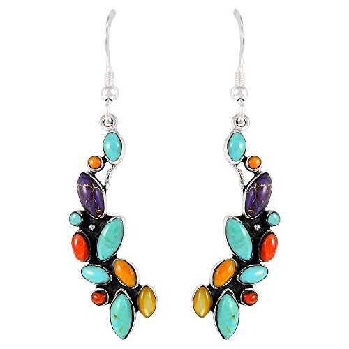Multi Stone Dangle - Dangle Earrings in Sterling Silver Genuine Turquoise & Gemstones (1.5