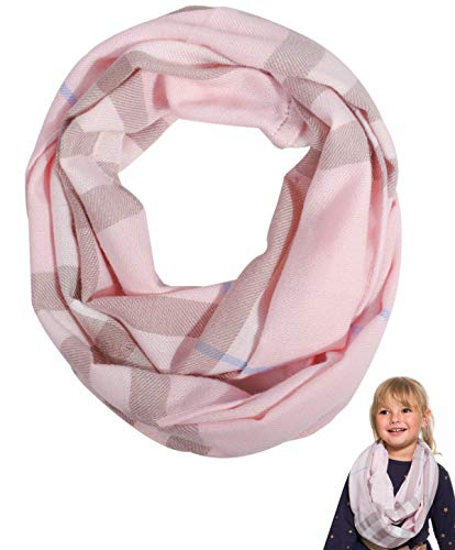 Kid Toddler Girls Boy Infinity Scarf - Plaid Soft Loop Scarfs for Little Children Baby 2-7 Years Old, Christmas Gift Fashion Accessories