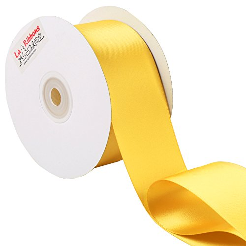 Laribbons 2 inch Wide Double Face Satin Ribbon - 25 Yard (650-Maize)