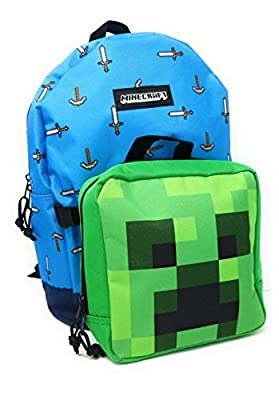 Minecraft Backpack and Lunchbox Set Sword & Creeper Design