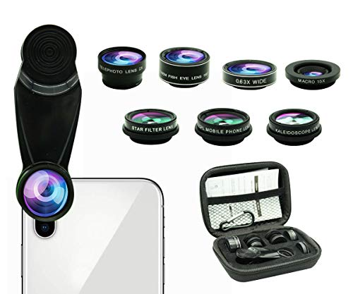 8 in 1 Phone Camera Lens Kit, 0.63Wide Angle Lens+15X Macro+198°Fisheye+2X Telephoto+Kaleidoscope+CPL/Starlight/Universal Clip, Zoom Compatible with iPhone Samsung Galaxy Huawei Smartphones