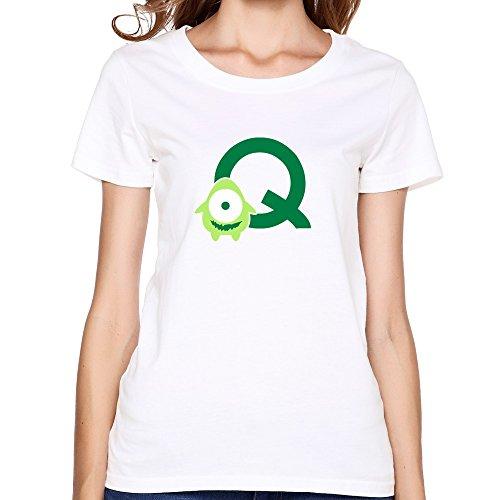 (Woman's Crew-Neck Monster Q T Shirt White)