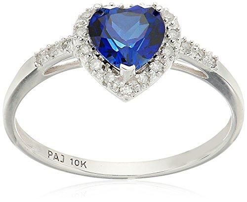 10k White Gold Gemstone and Diamond Halo Heart Ring, Size 7