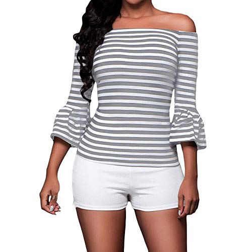 SUBWELL Women's Off Shoulder Flared Sleeve Black and White Stripe T Shirt Top Blouse (Small, Gray)