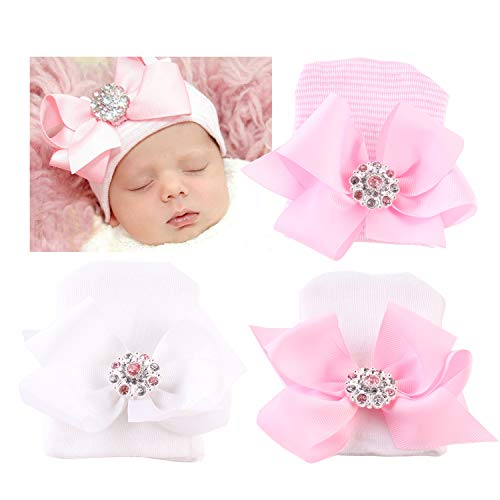 DRESHOW BQUBO Newborn Hospital Hat Infant Baby Hat Cap with Big Bow Soft Cute Knot Nursery Beanie (3 Pack Ribbon Bow) -
