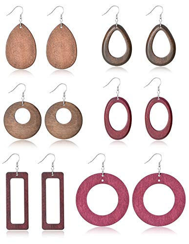 Ofeiyaa 6 Pairs Statement Dangle Natural Wood Teardrop Geometric Earrings Stainless Steel Stud Bohemia Retro Earrings for Women Girls