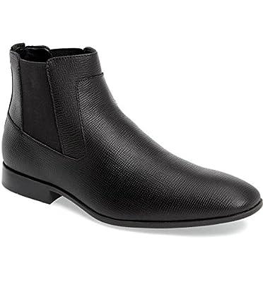 Calvin Klein Men's Shoes Christoff epi Leather Ankle Boots Black F0894 Dress Boots