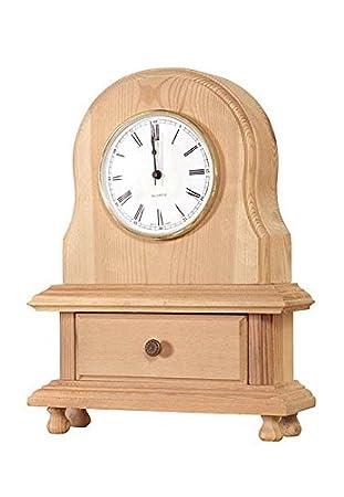 Muebles Natural – Reloj de Sobremesa ovalado con cajón, en madera natural sin pintar,