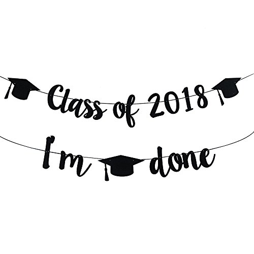 2018 Congrats Signs Graduation Party Decorations Class 2018, IM Done Banner Sign Congratulations Bunting Garland 2018 Graduation Party Decoration -