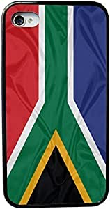 Rikki KnightTM South Africa Flag Design iPhone 4 & 4s Black Case Cover (Black Rubber with bumper protection) for Apple iPhone 4 & 4s